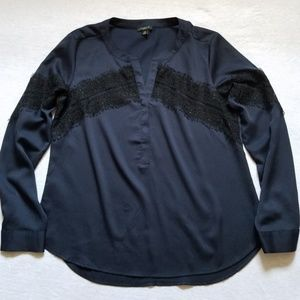 Ann Taylor popover shirt blouse top lace insert SP